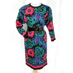 Vtg Wiz Halmode Multi-color Floral Sweater Dress